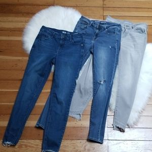 3 pairs old navy Rockstar jeans